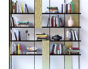Modern shelf with books 3D model