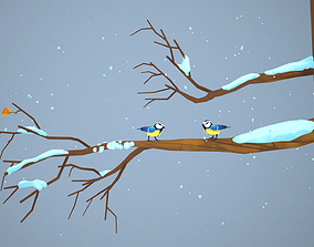 Tomtits On Branch 3D asset