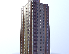 Multi-story building Low-poly 3D model low-poly