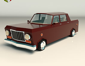 3D asset Low Poly Sedan Car 08