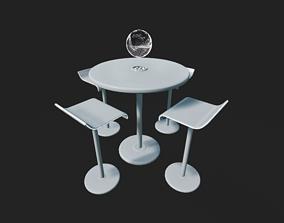 Futuristic Table Set 3D asset