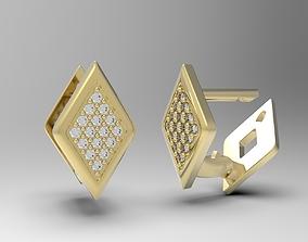 3D printable model Geometric earrings with diamonds