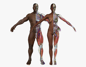 3D African American Male Female Complete