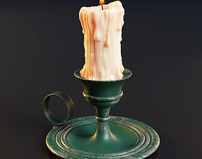 3D model Melted candle and rustic candle holder