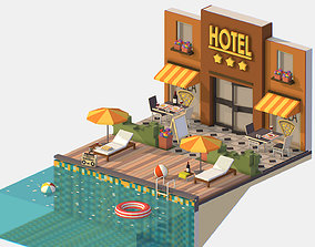 3D asset Isometric Relax Pool on Hotel Loungers