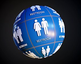 Restroom Bathroom Sign Scratched Seamless PBR 3D model