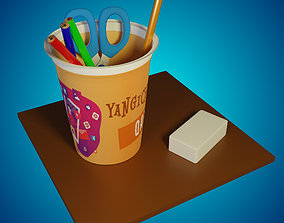 Pencils and scissors in the container 3D asset