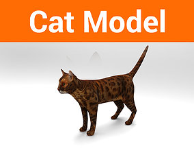 3D asset Cat game ready low poly model
