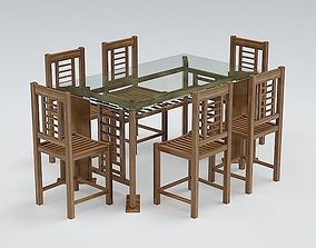 Chair and Table Set vray 3D model