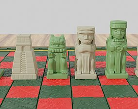 3D printable model Aztec Olmec Chess pieces with Board