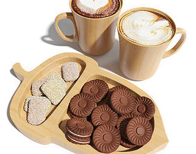 3D model Eco dishes with cookies and cappuccino