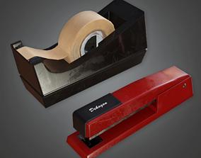 CLA - Desk Stapler and Tape - PBR Game Ready 3D asset
