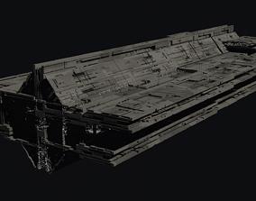 star wars inspired cargo spaceship hi-poly 3d model