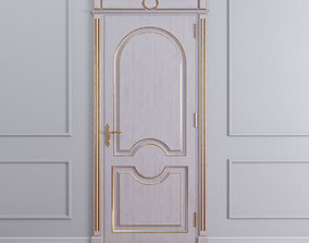 3D model Classic door with gold lines on the edges