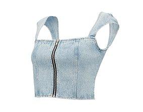 3D Zipper Jeans Top