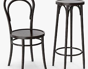 Classic Thonet 14 vienna chair and bar stool 3D model