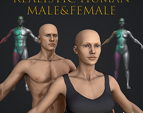 3D asset Realistic Human Male and Female