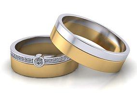 3D printable model diamond wedding rings