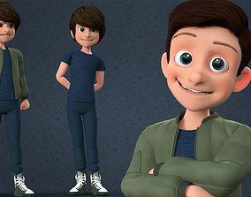 CARTOON TEENAGE BOY - RIGGED 3D asset