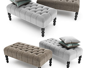 Footstool Upholstered with buttons 3D