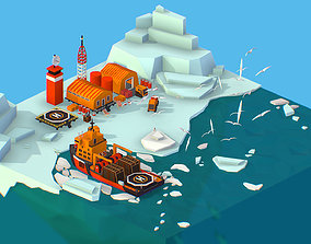 3D model Isometric Polar Station North Pole iceboat