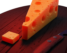 animated Realistic Cheese Slice 3D Model
