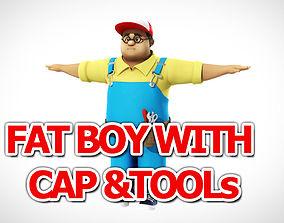 3D model Fat Boy with cap and tools