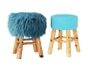 3D model Solid wood stool with wool seat
