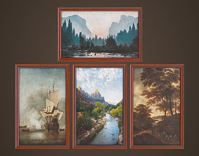 3D model Four paintings with a frame