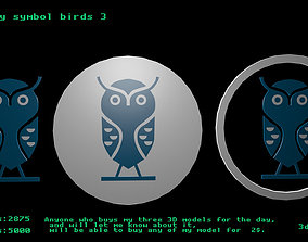Low poly symbol birds 3 3D model