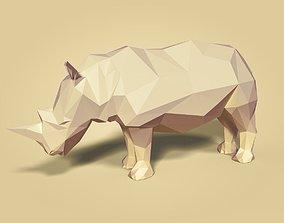 savannah Cartoon Rhinoceros - Low Poly 3D model