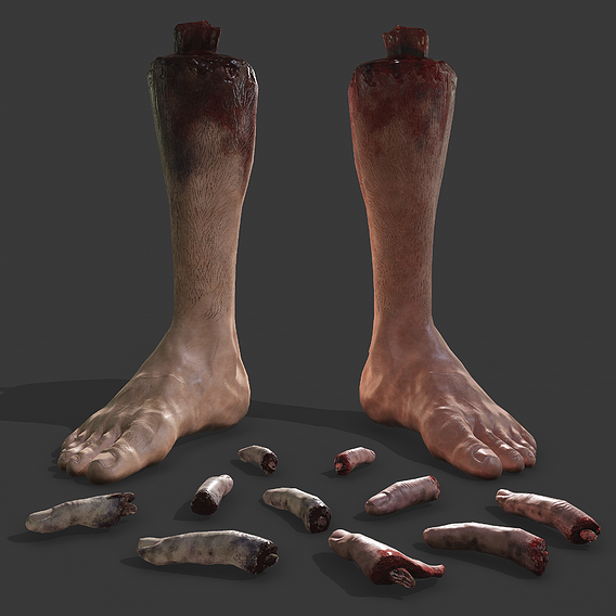 Fake Severed Feet and Fingers Halloween Prop