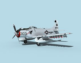 3D model animated Douglas A-1H Skyraider V19 USMC