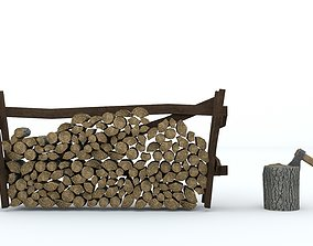 3D model Axe and firewood