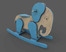 Wooden Elephant Rocking Horse 3D asset