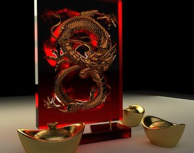 Chinese gold ingot with dragon pat 3D model