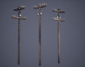 3D asset Electric Pole Set Low Poly Game Ready