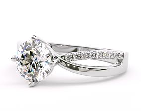 Twisted Round Shape Diamond Engagement Ring 3D print model