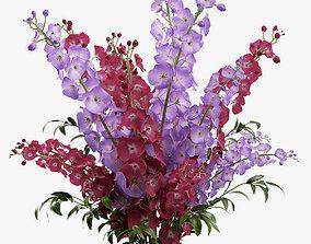 3D model Delphinium flowers in vase