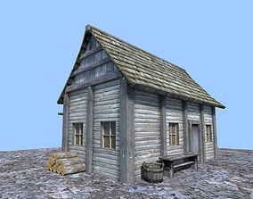 3D model medieval wooden hut
