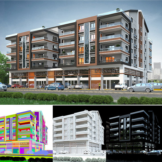 Apartment exterior rendering and elevation design
