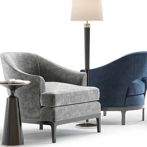 Furniture Visualization   Baker Carnelian Lounge Chair