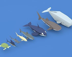 Low Poly Pirate Sea Animals 3D model