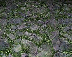ground stone grass tile 04 3D model