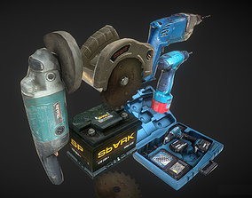 3D asset drill tools saw low poly