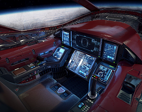 Sci Fi Light Fighter Cockpit 3D asset