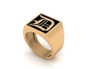 Old English Letter Ring D 3D print model