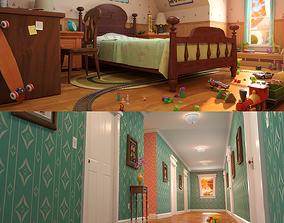 Cartoon Corridor Bedroom 3D model