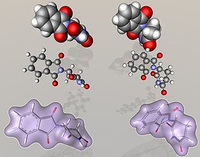 3D model Thalidomide R- and S- enantiomer molecules