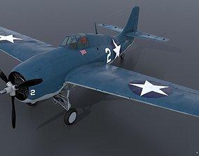 GRUMMAN F4F-3 WILDCAT VMF-222 3D model